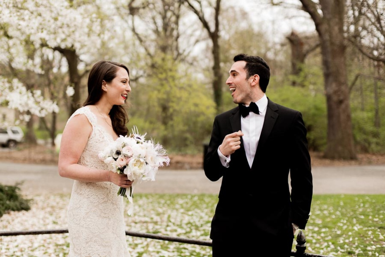 Botanical Garden Wedding Covered in Cherry Blossoms