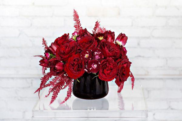 Red Hot floral arrangement by Rebecca Shepherd Floral Design